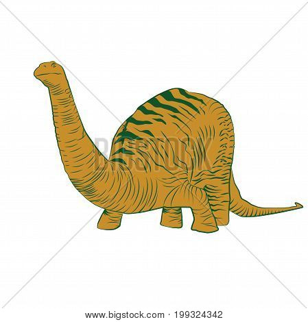 Vector - Apatosaurus Line Drawing Sketch Orange
