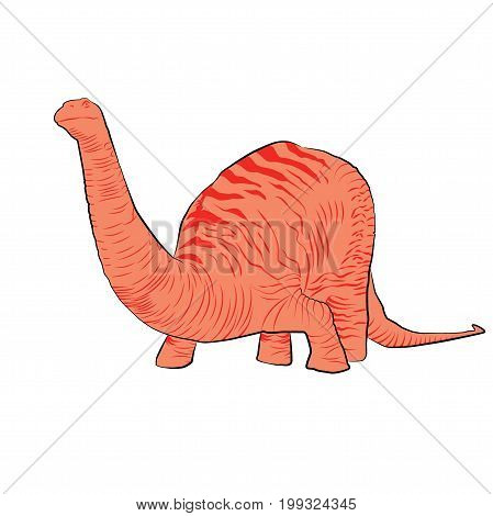 Vector - Apatosaurus Line Drawing Sketch Pink