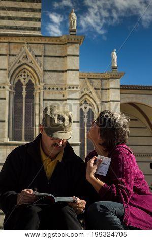 Siena, Tuscany/italy Oct 08 - Tourist Near The Cathedral