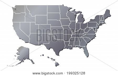 Vector - United States of America Aluminium Tone with Shadow Map including State Boundaries