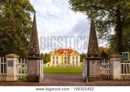 PALMSE, ESTONIA - 20 SEP 2015. Gates and front view of beautiful and rich Palmse Manor in Estonia