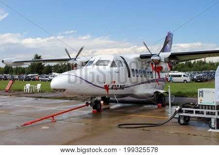 Moscow Region - July 21 2017: Twin-engine turboprop aircraft L-410 at the International Aviation and Space Salon (MAKS) in Zhukovsky.