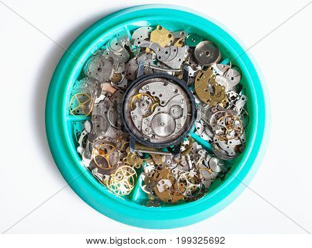 Top View Of Disassembled Watch In Plate