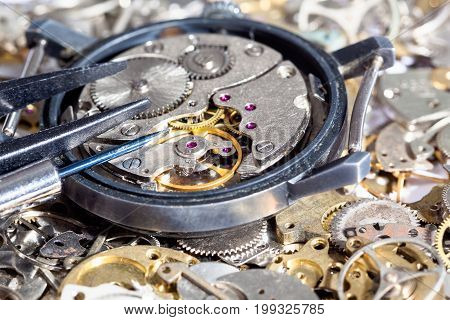 Tools On Open Watch On Clock Spare Parts