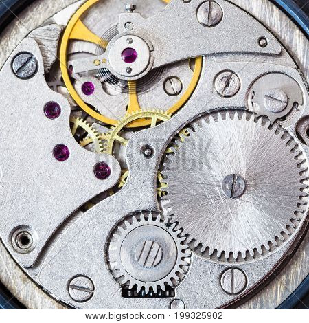 Steel Clockwork Of Old Mechanical Watch