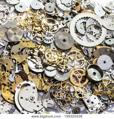 Pile Of Used Watch Spare Parts Close Up