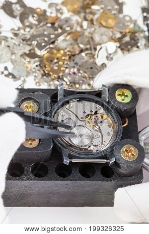 Repairing Of Mechanical Watch With Spare Parts