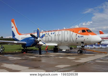 Moscow Region - July 21 2017: Twin-engine turboprop passenger aircraft IL-114 at the International Aviation and Space Salon (MAKS) in Zhukovsky.