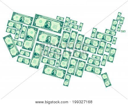 The United States made out of one dollar bills for print or web
