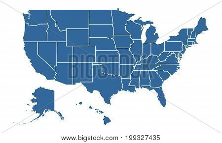United States of America Blue map including State Boundaries