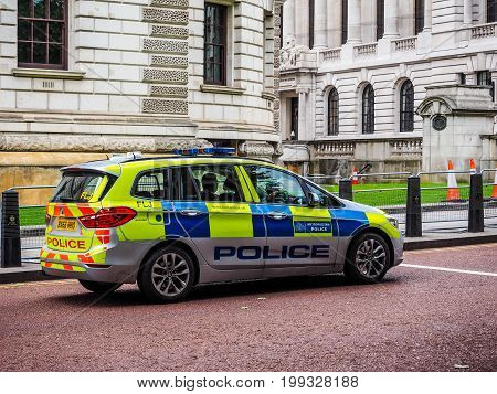 Police Car In London (hdr)