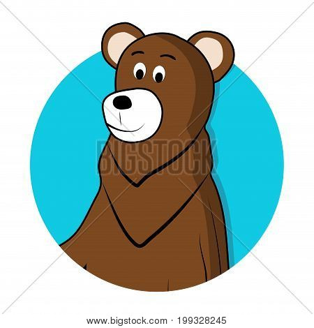 Bear brown grizzly avatar icon. Brown bear animal cartoon. Vector illustration