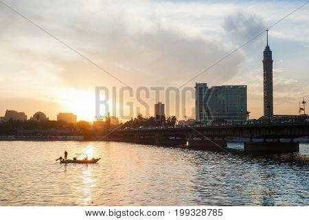 Sunset over Nile River - Cairo, Egypt