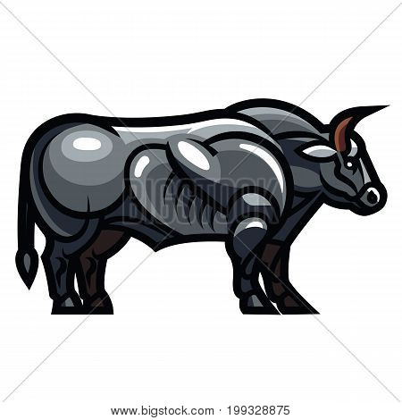 Stylized drawing of a powerful standing Belgian Blue bull