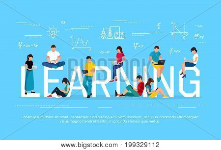 E-learning concept. Young people with tablet pc and laptops are engaged in distance learning on the Internet. Flat men and women sit and read using gadgets. Vector illustration.