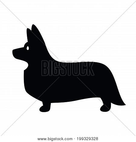 Stylized vector drawing of a silhouette of standing in profile dog Welsh Corgi breed