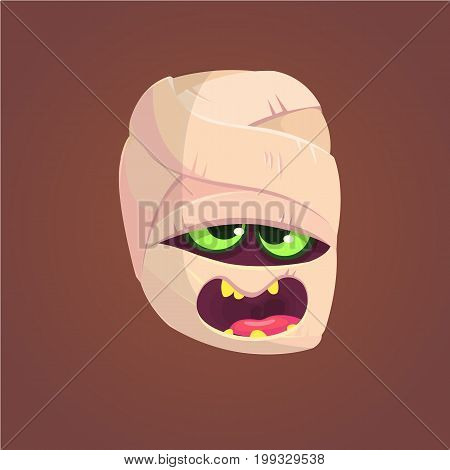 Cute mummy screaming head. Halloween vector illustration. Mummy face expression