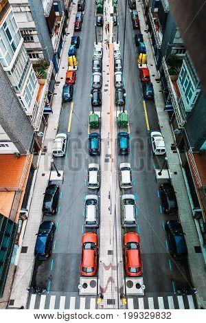 Top view on city street . Gijon, Spain.