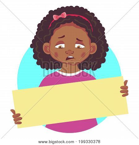 Sad african girl holding blank poster. Blank message vector illustration. Hands holding blank paper