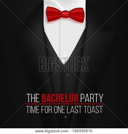 Illustration of The Bachelor Party Invitation Template. Realistic 3D Vector Black Suit with Bow Tie
