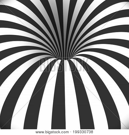 Illustration of Vector Tunnel Template. Optical Illusion Curved Vortex Hole