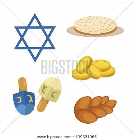 Judaism church traditional symbols jewish hanukkah set. Various jewish symbols and items hanukkah celebration flat icons . Jewish hanukkah church traditional religious.