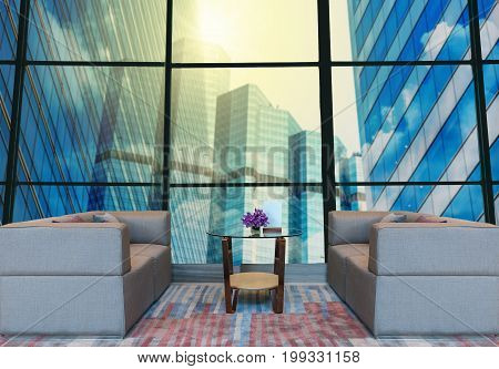 Lobby area of a hotel which can see abstract Blurred photo of cityscape building background with lightingBusiness financial concept