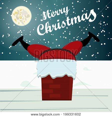 Santa Stuck in Chimney. Santa Claus is up on the rooftop, but he cant get down. Cute xmas card with santa stuck funny holiday illustration. Winter greeting card santa stuck happy character .