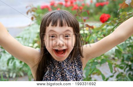 Little girl have fun in the park