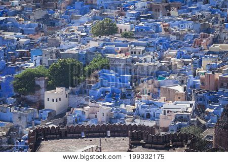 The Blue City Of Jodhpur With The Mehrangarh Fort.