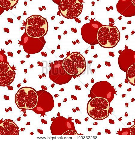 Red fresh pomegranate pattern art food design seamless vitamin ornament. Hand drawn seamless texture pomegranates fruit pattern. Sliced pomegranates and fruit seeds sweet graphic texture.