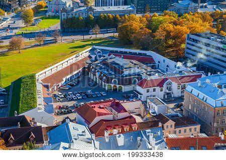 TALLINN, ESTONIA - 24 OKT 2015. Former castle bastion, living area now. Aerial view, autumn season. Tallinn, Estonia
