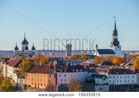 Toompea hill with tower Pikk Hermann and Russian Orthodox Alexander Nevsky Cathedral and Dome Church, view from the tower of St. Olaf church, Tallinn, Estonia