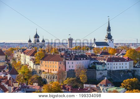 Old town and Toompea hill with tower Pikk Hermann and Russian Orthodox Alexander Nevsky Cathedral and Dome Church, view from the tower of St. Olaf church, Tallinn, Estonia