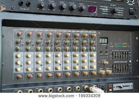 Professional Audio dj mixer console sound tools and gear studio equipment picture.
