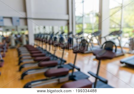 Abstract blurred photo of fitness gym background sport concept
