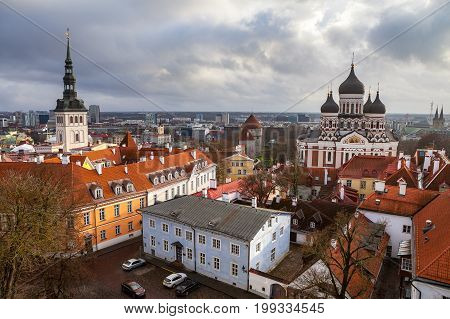 Toompea hill with Russian Orthodox Alexander Nevsky Cathedral and Niguliste church, view from the Dome church, Tallinn, Estonia