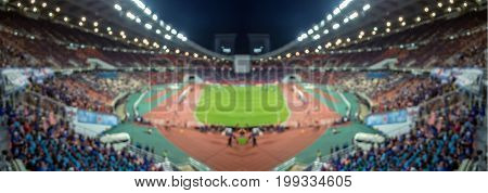 Panorama of Abstract blurred photo of fan sport at stadium sport background concept