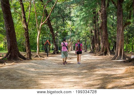 Tourists Going On Trail At Leamsala Way To Phraya Nakorn Cave, Thailand. National Park Khao Sam Roi