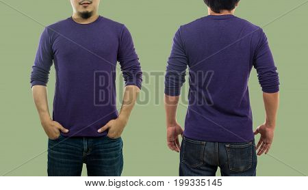A guy wearing blank crew neck long t-shirt while standing on the green background isolate include clipping path fashion mockup and designer concept front and back side