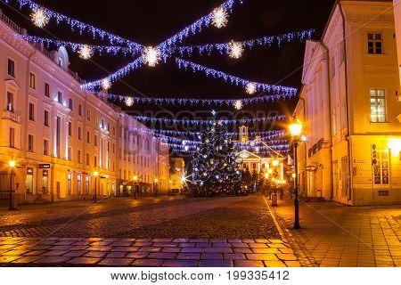 TARTU, ESTONIA - 25 DEC 2015. Christmas illumination on central square in Tartu, Estonia