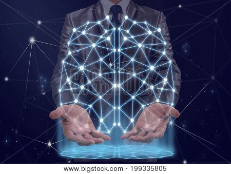 Double exposure of Businessman hand holding the polygonal brain shape of an artificial intelligence with lines and dots and shadow background business and physician concept,3D illustration