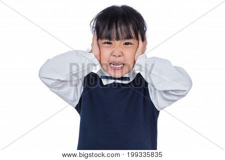 Asian Little Chinese Girl Covering Her Ears With Hands