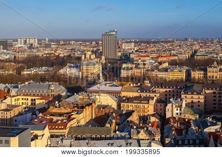 RIGA, LATVIA - 25 DEC 2016. Aerial view on roofs of Riga city center, Latvia. Old and new buildings