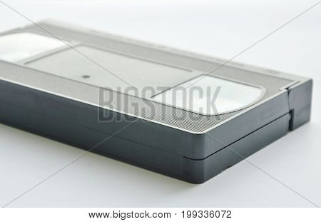 black video tape recorder on white background