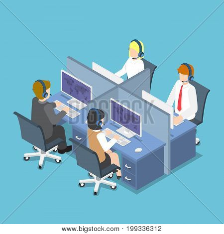 Isometric Business People Working With Headset In A Call Center And Service.