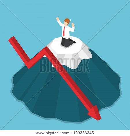 Isometric Businessman Stuck On The Top Of Mountain.