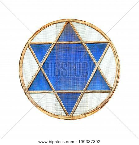 Blue star of David in window isolated on white background