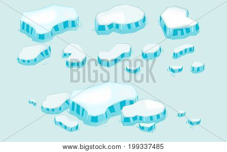 Iceberg big set cartoon. Ice and Icebergs in isometric 3d flat style. Set of different ice block