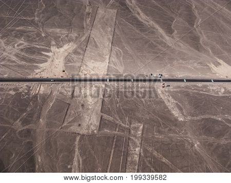 Pan-american highway and Nazca lines view from small plane Peru